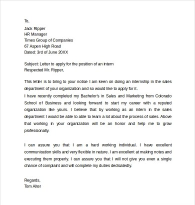 How To Write A Cover Letter For Internship Abroad - Cover Letter ...