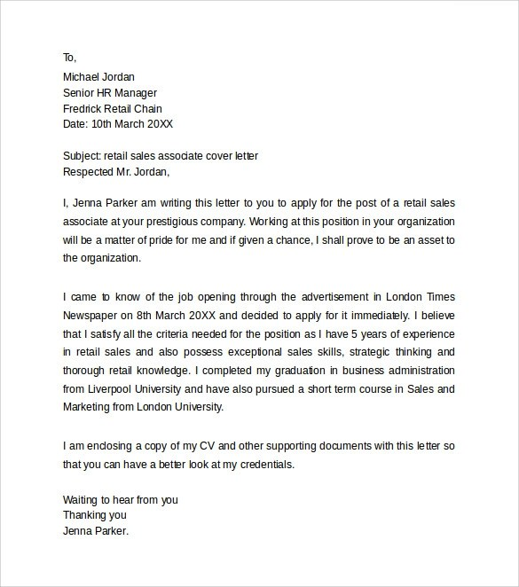 Retail Cover Letter Template Uk  MytemplateCo