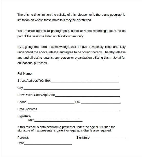 Video Release Form 8 Samples Examples Format