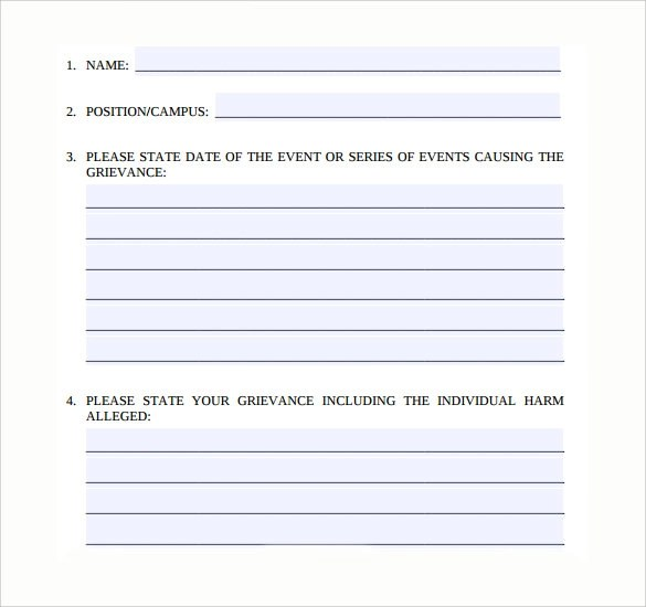 Employee Complaint Form 8 Free Samples Examples Amp Formats