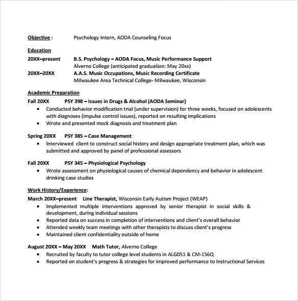 sample college student resume template 10 download free documents