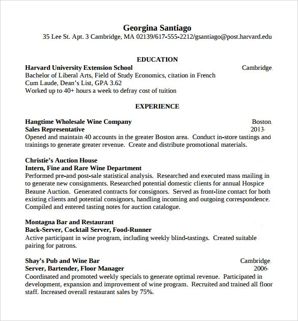 bartender resume template 6 free word pdf document downloads. basic ...