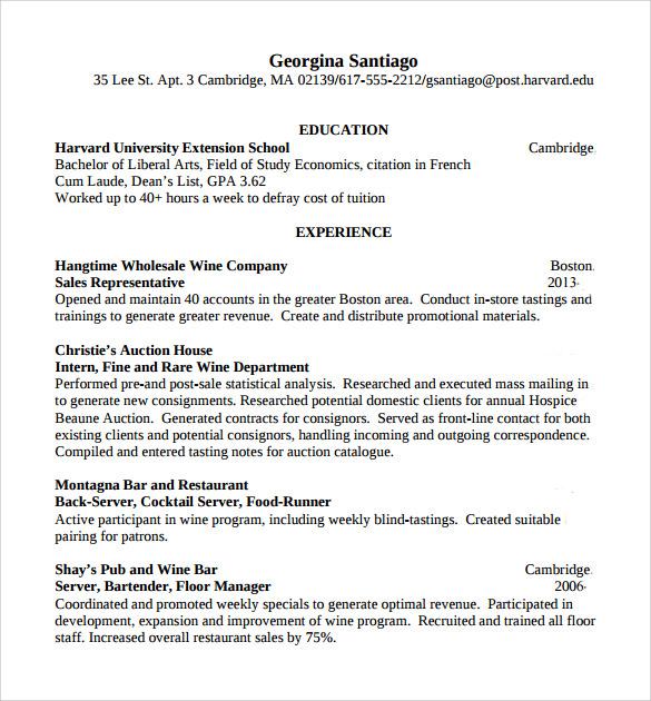 sample resume bartender bartender resume sample sample bartender
