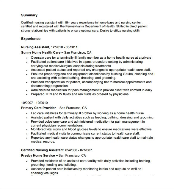 Resume For Nursing Assistant Examples. Resume Examples Example Of