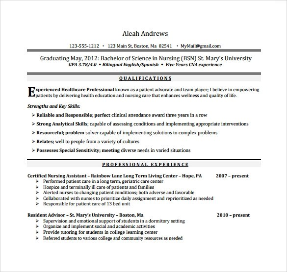 Nursing Assistant No Experience Resume. Sample Resume For Nursing