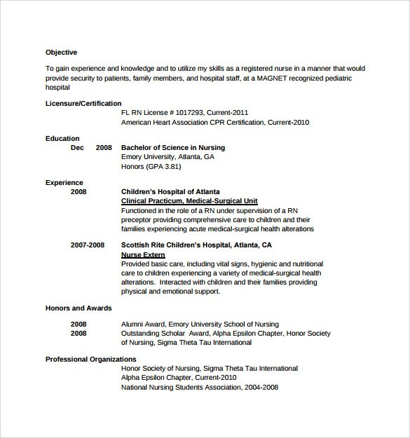 Sample Resume Nursing Objectives. Free Template Cover Letter And