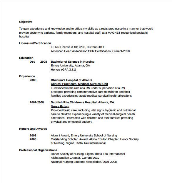 Free 10 Sample Nurse Resume Templates In Ms Word Pdf