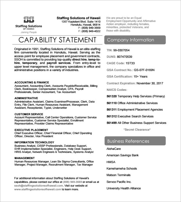 Sample Capability Statement Templates 14 Documents In PDF Word