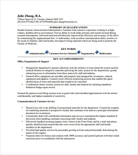 executive assistant 6 free examples format