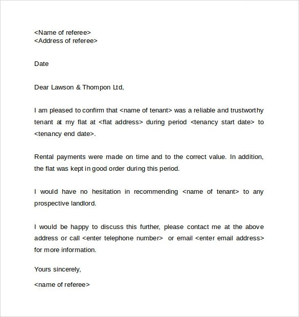 Reference Letter For Staff Character Reference Letter ForLandlord – Sample Landlord Reference Letter Template
