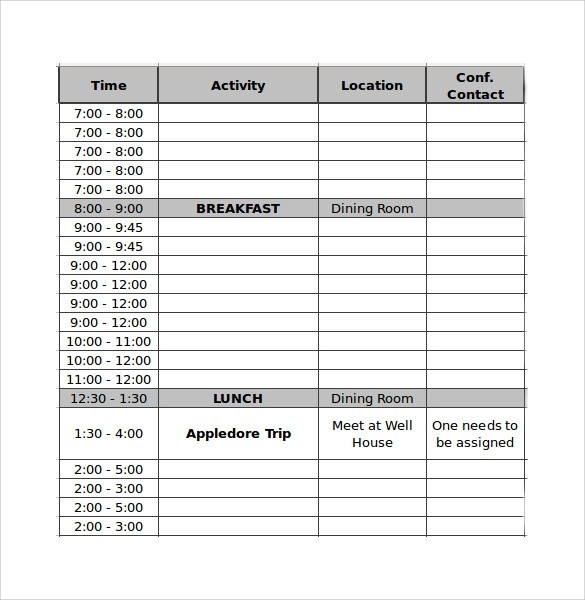 conference schedule template 13 samples examples amp formats