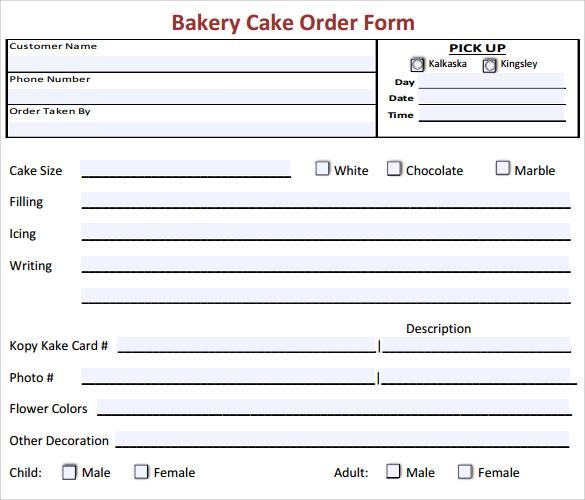Wedding Cake Order Form Templates: Cupcake Order Invoice Samples