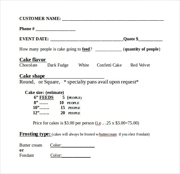 Cake Order Form Template best photos of order sheet template work – Basic Order Form Template