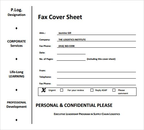 Blank fax cover letter pdf