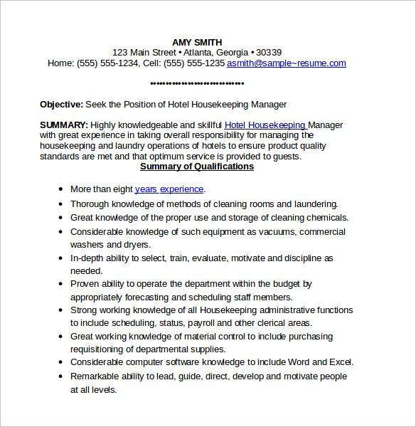 Resume Format For Hotel Housekeeping. Resume For Housekeeper Imeth