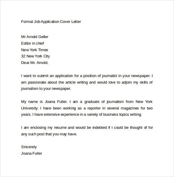 formal cover letters for job applications cover letter job application