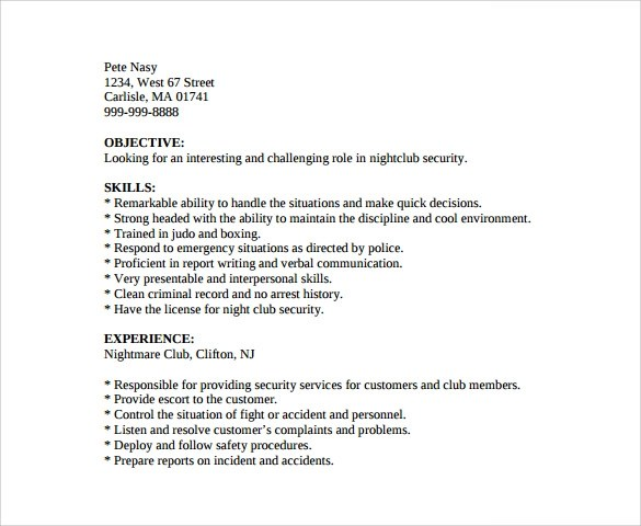 security guard resume 7 free download free documents in pdf word