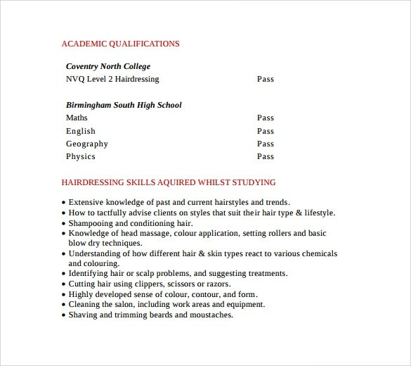 Hair Stylist Assistant Resume Examples