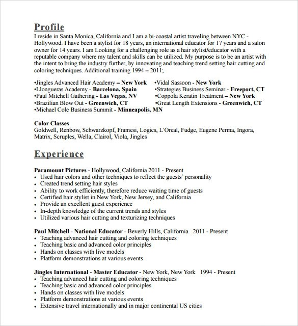 Hair Stylist Resume Templates. Resume Examples Hair Stylists And