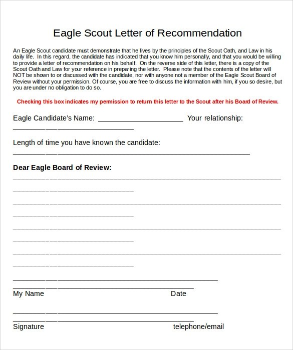 Eagle Scout Recommendation Letter Sample | Docoments Ojazlink
