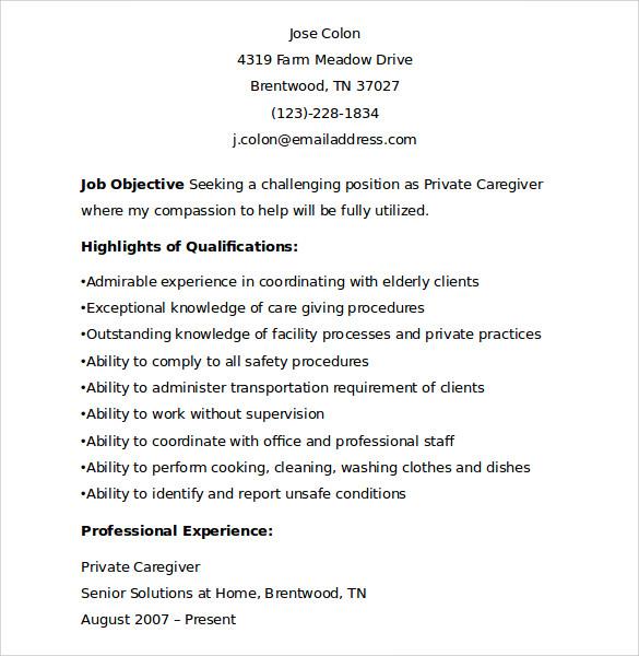 Sample Of Caregiver Resume. Resume Caregiver Resume Examples