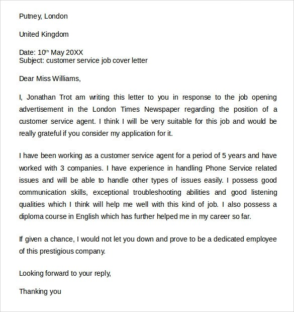 Free 7 Sample Customer Service Cover Letter Examples In Pdf Ms Word
