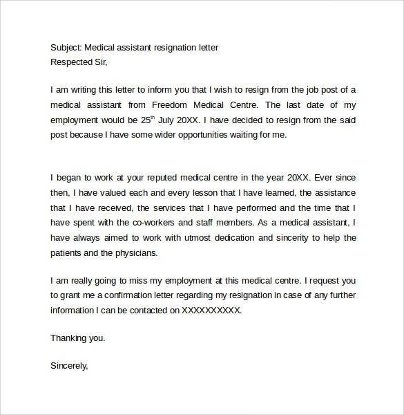 Resignation Letter  Week Notice Medical Assistant  Docoments