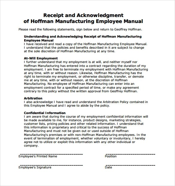 Sample Employee Manual 8 Documents In Word PDF