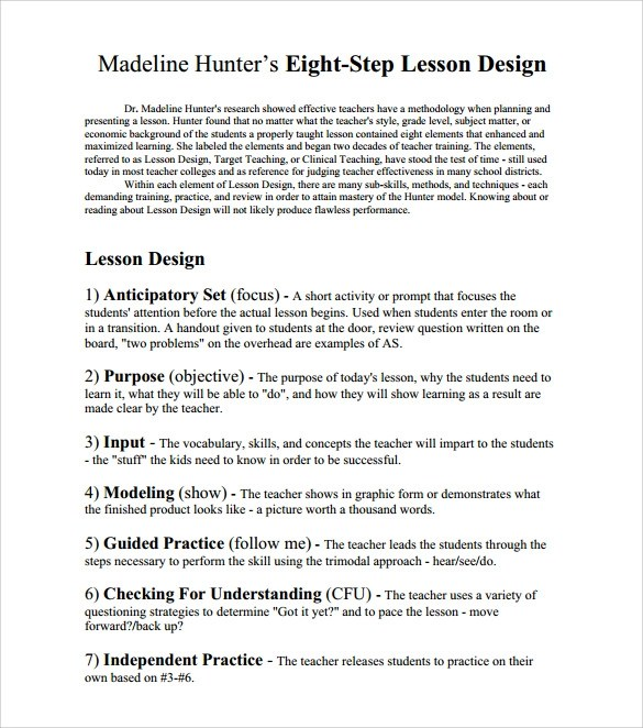Sample Madeline Hunter Lesson Plan 11 Documents In PDF Word