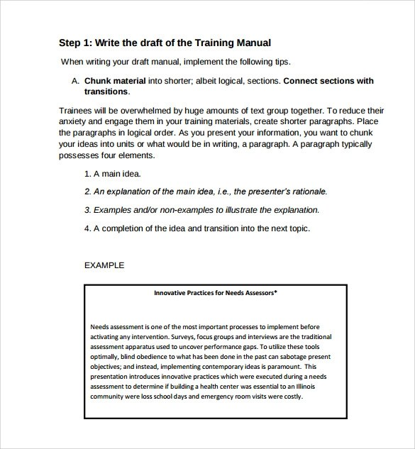 training manual template free download