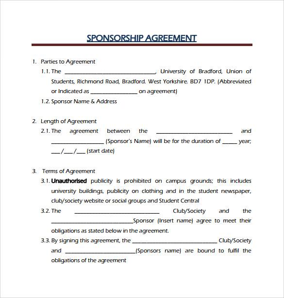 Sponsorship Contract Template sponsorship agreement for events – Sponsor Agreement Template