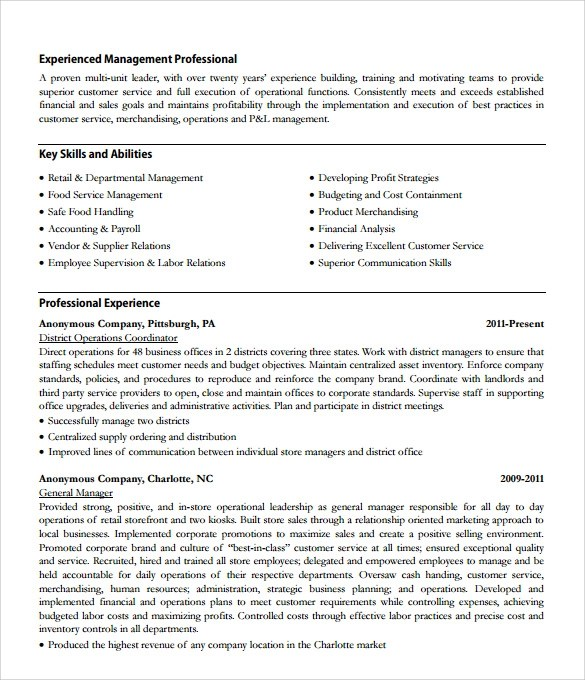 Store Manager Resume Pdf. Examples Job. Asset Management Resume