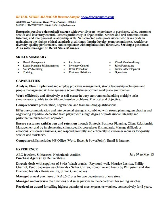 Store Manager Resume. Resume Example Store Manager Resume Example