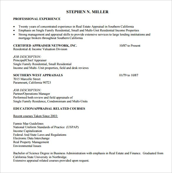 sample real estate resume 14 download free documents in pdf word