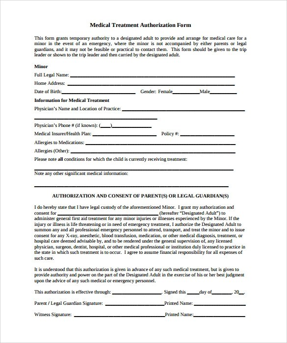 Medical Treatment Authorization Letter For Minor | Inviview.co