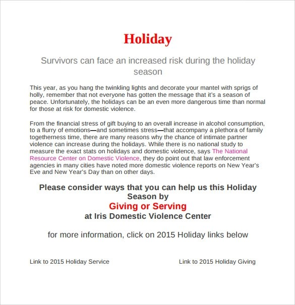 Sample Memo For Holiday Notice  AnotherStOrg