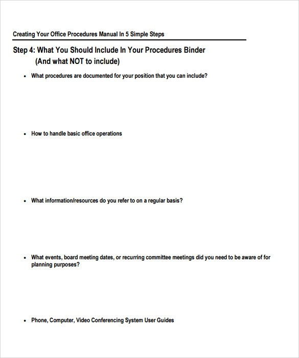 Champlain College Publishing  Procedure Manual Template For Word