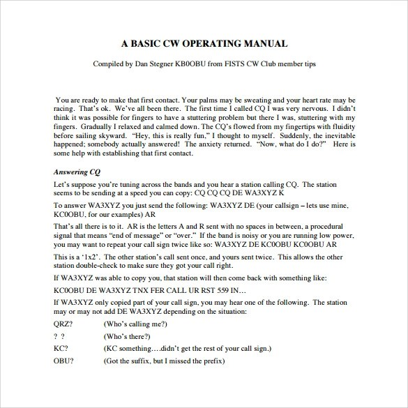 Doc575709 Operations Manual Template Free operations manual – Procedure Manual Template Free