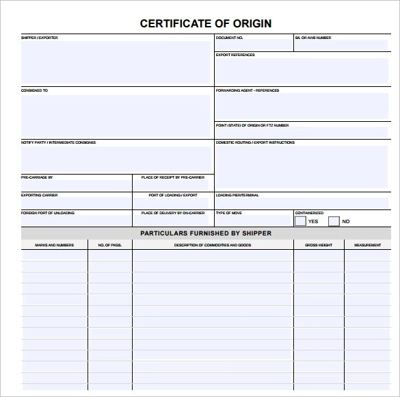 Certificate Templates In Word. Certificate Of Origin Template 14