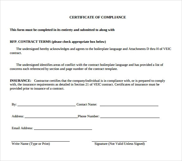 Sample Certificate Of Compliance 25 Documents In Pdf Psd