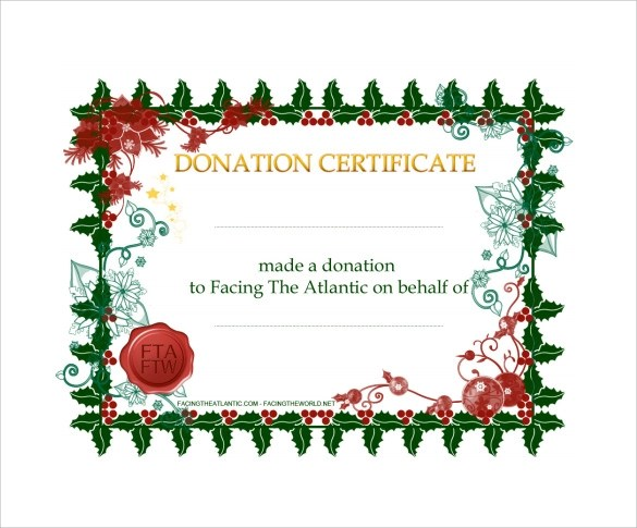 Sample Donation Certificate Template 7 Documents In Pdf