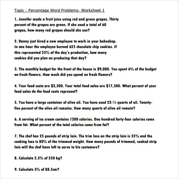 Free 13 Percents Worksheet Templates In