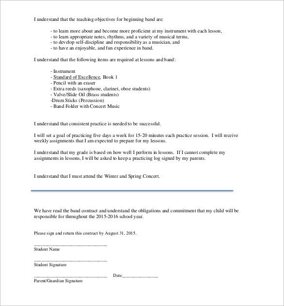 Band Contract Template. band contract template 13 free samples ...