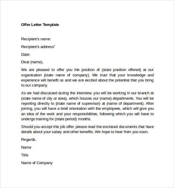 Letter Of Intent For A Job Offer From Company Sample Templates