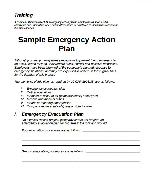 Sample Emergency Action Plan 11 Free Documents In Word Pdf