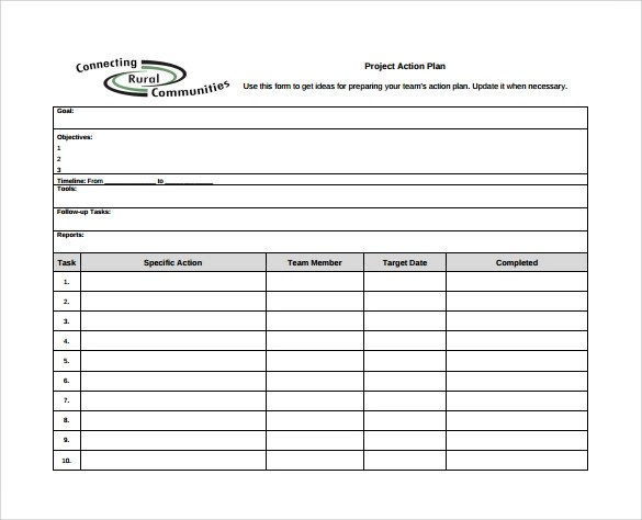Project action plan template excel action plan template for Project plan document template free