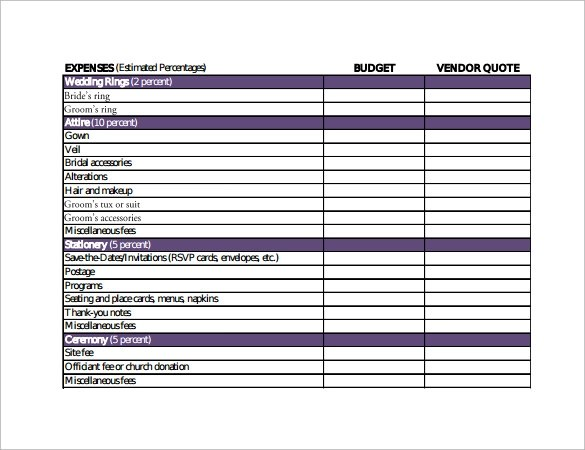Sample Wedding Budget Calculator 8 Documents In PDF Excel