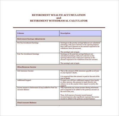 Sample Retirement Withdrawal Calculator - 9+ Documents in PDF