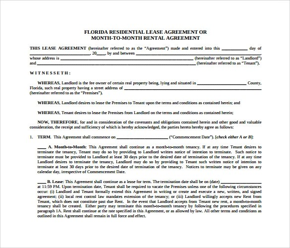 Monthly Rental Agreement Template sample month to month rental – Monthly Rental Agreement