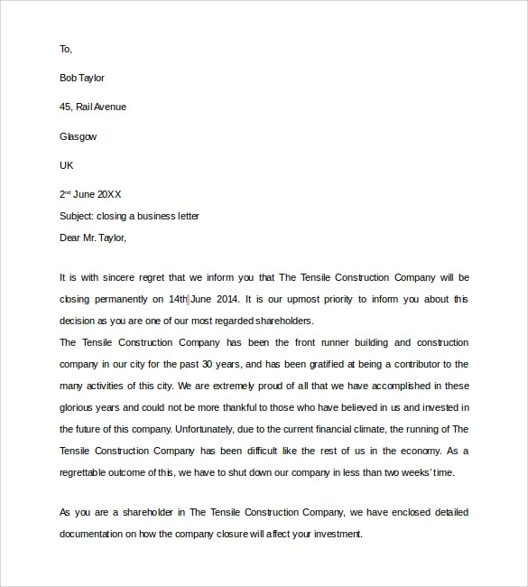 Cover letter closing statement sample
